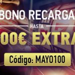 Hasta 100 € extra con tu recarga de mayo en Sportium